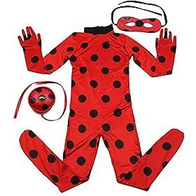 - 51l8KNdOAML - Kids Zip Miraculous Ladybug Cosplay Costume Halloween Girls Ladybug Marinette (S)