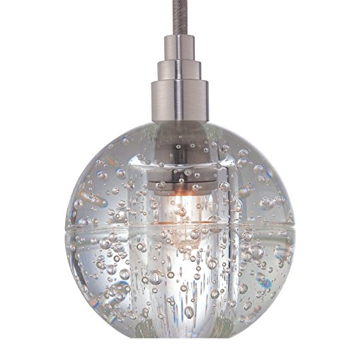 Hudson Valley Lighting Naples 1-Light Pendant - Satin Nickel Finish with Clear Seedy Glass Shade by Hudson Valley Lighting