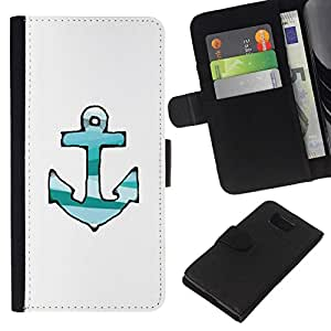 All Phone Most Case / Oferta Especial Cáscara Funda de cuero Monedero Cubierta de proteccion Caso / Wallet Case for Samsung ALPHA G850 // Drawn Lines Green Teal White Anchor