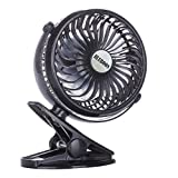 Image of BLUBOON Rechargeable Battery Clip on Fan, Quietness, Adjustable (Black)