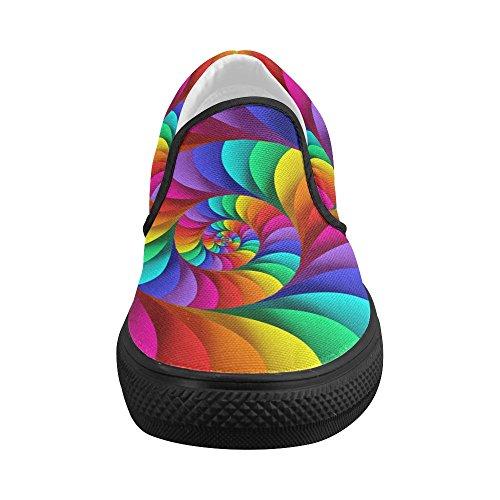Artsadd Psychédélique Arc-en-spirale Personnalisé Slip-on Chaussures En Toile Pour Les Femmes Model019 Multi Color3