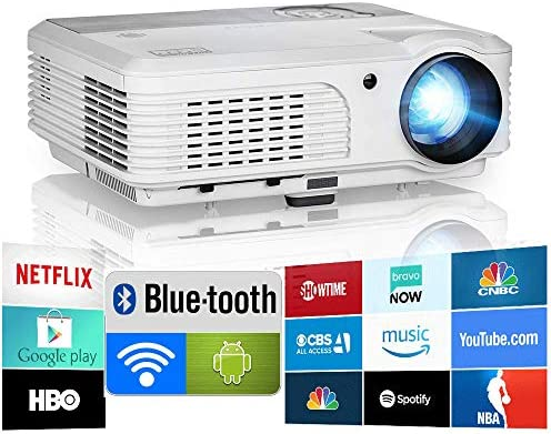 Bluetooth Projector WiFi Android 1080P LCD LED Good Video Projectors Residence Theater 4600 Lumens with Airplay HDMI USB RCA VGA AV for Smartphone DVD PS5 TV Stick Laptop computer Outside Film