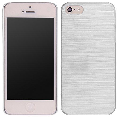 handy-point Aluminium gebürstet Optik Kunststoffhülle Hülle Schale Schutzhülle aus Kunststoff hardcase für iPhone SE 5 5S, Weiß