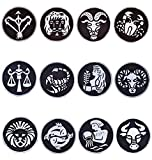 Lot of 12 Wooden Astrological Zodiac Sign Design HandCarved Printing Block Paper Textile Stamp