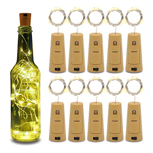 Betus 10 Pack Wine Bottles Cork String Lights - Battery Powered - Decorations for Garden, Wedding, Christmas & Party - Warm Light - 10 LEDs/3 Ft (Packs of 10)