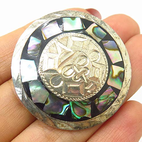 VTG Mexico Signed 925 Sterling Abalone Inlay Tribal Design Pin Brooch/Pendant Jewelry Making Supply by Wholesale Charms