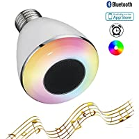RAYWAY Led Bluetooth Speaker Light Bulb, 6W+3W White RGB App Controlled Led Music Bulb, Timing setting light by Smartphone, Dimmable Smart Multicolored Color Changing Party Lights Bulb