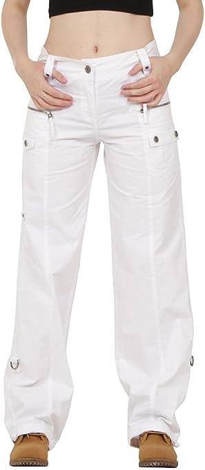 Pantalón algodón de Combate Cargo Estilo Ancho y Suelto para Mujer - Blanco - 36: Amazon.es: Ropa y accesorios