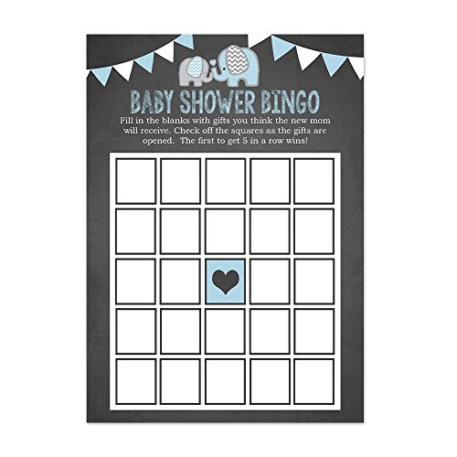Blue Elephant Baby Shower Bingo Cards 20 Count