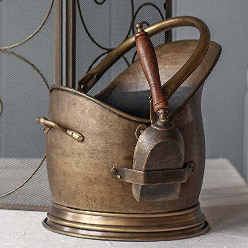 Antique Brass Coal Bucket Scuttle With Wooden Handled Shovel - Fantastic Quality (H32cm x D26cm) by Dibor - French Style Accessories for the Home - Brass Handled