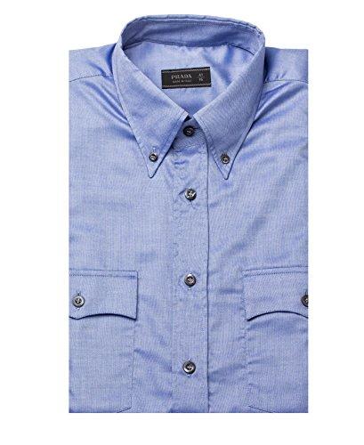 Prada Men's Collar Cotton Dress Shirt Blue