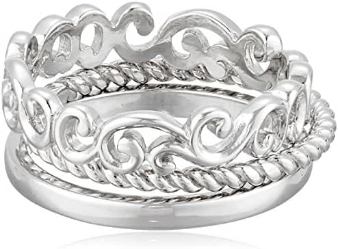 Sterling Silver 3 Piece Stacking Ring Set including Filigree, High Polish, and Twist Styles, Size 7
