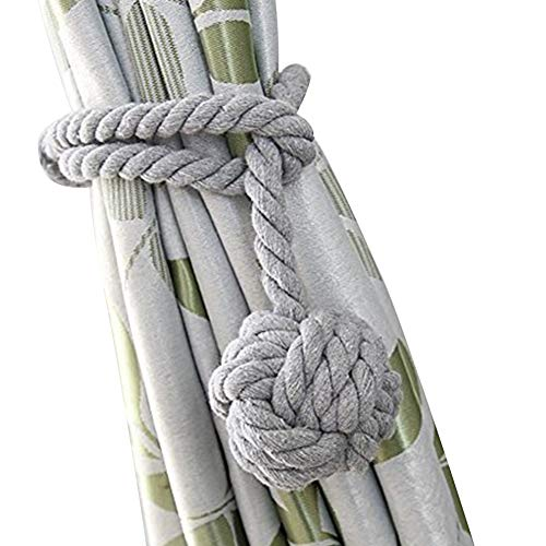 Tie Cord Backs (Loghot Hand Knitting Curtain Rope Cord Rural Cotton Tie Backs with Single Ball (Grey))