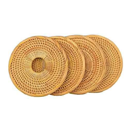 Handmade Round Rattan Coaster Rustic Style Cupmat for Drinks,Coffee,Restaurant and Table(4Packs, 5.2'') by Generic (Image #3)