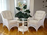 Jam Rattan Wicker Living Room Set 3 Pieces White Wash Coffee Table 2 Lounge Chairs w/Cream Cushions
