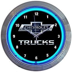 Neonetics Chevrolet Chevy Trucks 100th Anniversary Clock 15 Inch Diameter with Blue Neon - 8CHVTK