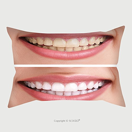 Custom Microfiber Pillowcase Protector Whitening Bleaching Treatment Before And After Woman Teeth And Smile Close Up Isolated On 115820041 Pillow Case Covers Decorative Rear Silver 54 Tooth