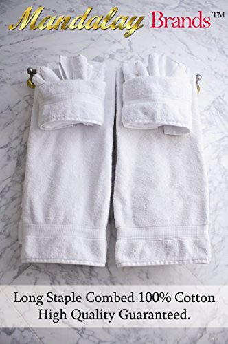 Luxury Hotel & Spa set of 6-piece Towels, 750GSM,100% Long Staple Combed Cotton. Premium set of 2 bath towels, 2 hand towels, 2 washcloths, Color (White) by Mandalay Brands (Image #8)