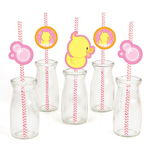Pink Ducky Duck Paper Straw Decor - Girl Baby Shower or Birthday Party Striped Decorative Straws - Set of -
