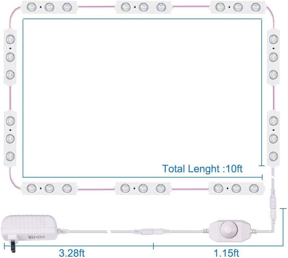 1200lm XIAMUSUMMER Specchio Camerino con Adattatore 6000k 10 Piedi Specchio LED Luce Bianca Luminosit/à Regolabile 60 LED Boccola per Filo