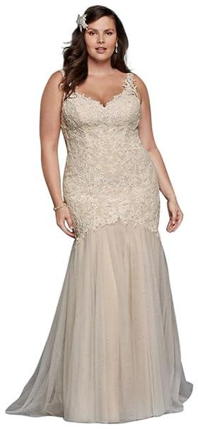 David\'s Bridal Beaded Trumpet Plus Size Wedding Dress Style ...