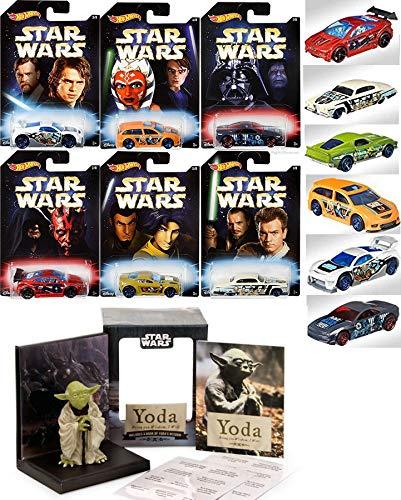 Wheels Master & Apprentice Exclusive Set Pack 6 Car Darth/ Yoda Figure & Book / Darth Vader / Maul + Battle Play Action ()