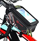 """RockBros Bicycle Top Tube Frame Cycling Pannier Water Resistant Bike Bag and Mobile Phone Screen touch Holder Mount Fits Phones For 4.8"""" and 6"""""""