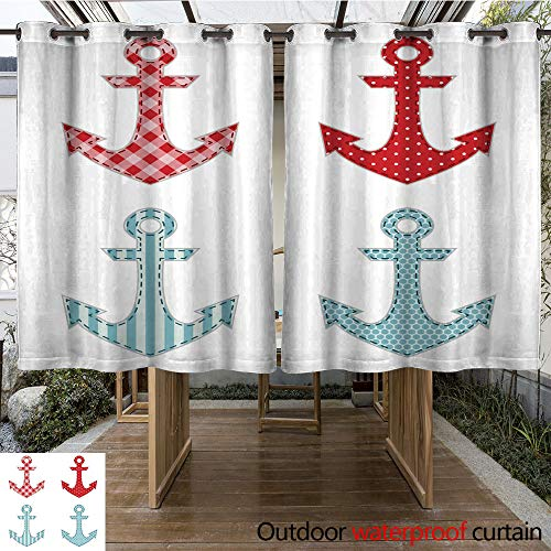 WinfreyDecor Outdoor Curtains for Patio Waterproof Set of Four Anchors as Retro Fabric Applique as Baby Shower Elements W84 x L72