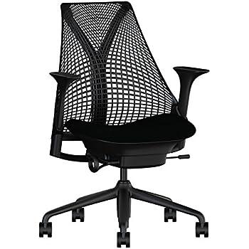 Schon Herman Miller Sayl Task Chair: Tilt Limiter   Stationary Seat Depth    Height Adj Arms   Standard Carpet Casters   Black Base U0026 Frame