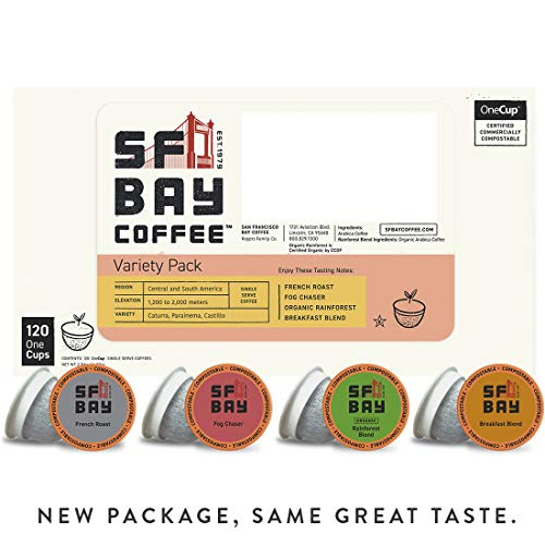 SF Bay Coffee Variety Pack 120 Ct  Compostable Coffee Pods, K Cup Compatible including Keurig 2.0 (Packaging May Vary) (San Francisco Coffee Keurig Bay)