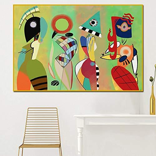 Pintura al oleo Pinturas en lienzo modernas Vasily Kandinsky Arte de la pared Pintura al oleo abstracta para la habitacion del hogar Envio gratis Cuadros decorativos sin marco 50x70cm