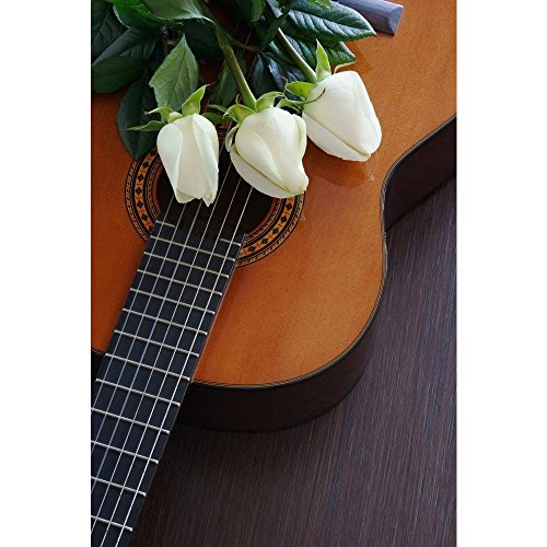 Pitaara Box Composition of Three White Roses On The Guitar Peel & Stick Vinyl Wall Sticker 20 X 29.9Inch