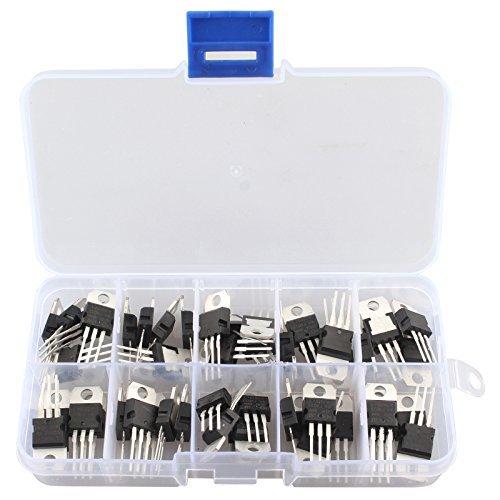 50Pcs 10Values Voltage Regulator IC Assortment Assorted Kit LM317T L7805 L7806 L7808 L7809 L7810 L7812 L7815 L7818 L7824