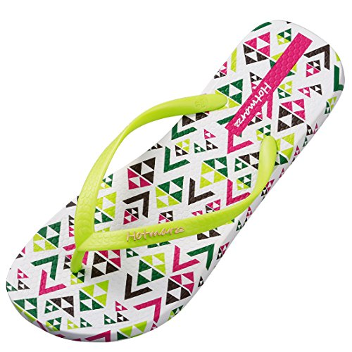 - Hotmarzz Women's Bunny Rabbit Printing Summer Beach Slippers Tong Sandals Flat Slides Size 8 B(M) US / 39 EU / 40 CN, Neon Green