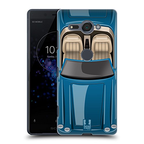 (Head Case Designs Tufts Blue Classic Cars Hard Back Case for Sony Xperia XZ2 Compact)