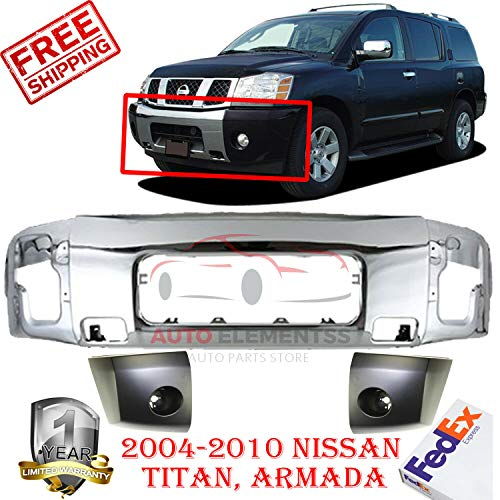 New Front Bumper Chrome kit For 2004-2007 Armada 2004-2010 Titan LE/SE Nissan BUMPER END Left Hand Side & Right Hand Side Direct Replacement black Set of 3 NI1004145, NI1005145, NI1002136