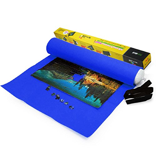 (Lavievert Giant Blue Big Felt Mat for Puzzle Storage Puzzles Saver, 3000-piece Jigsaw Puzzle Mat, Long Box Package, No Folded Creases, Environmentally Friendly)
