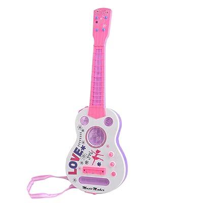 21IN Jouet de Guitare, Lommer 4 String Flash Mini Guitare Enfants Instruments de Musique Jouet Éducatif 928B