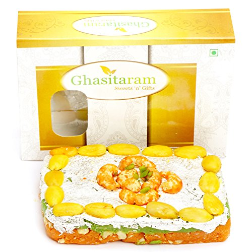 Ghasitaram Gifts Orange Dryfruit Mithai Cake by Ghasitaram Gifts