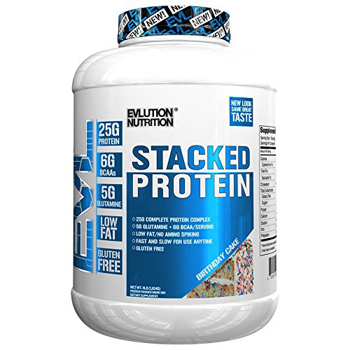 Evlution Nutrition Stacked Protein Protein Powder with 25 Grams of Protein, 5 Grams of BCAA's and 5 Grams of Glutamine (Birthday Cake, 4 LB) - Nutrition Protein Blend