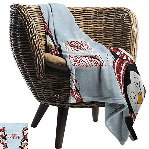(Decorative Throw Blanket Christmas New Year Quote Cute Penguins with Hats and Scarf Snowflakes Kids Children Theme Lightweight All-Season Blanket W60 xL51 Sofa,Picnic,Camping,Beach,Everyday use)