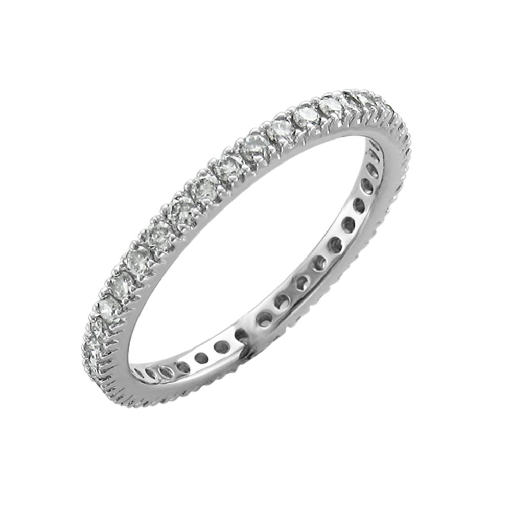 14K White Gold Prong Set Diamond Eternity Wedding/Anniversary Band Ring (0.51 Carat)
