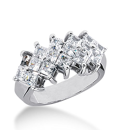 2.75 Ct Diamond Wedding Band Ring Princess Prong 14k White Gold