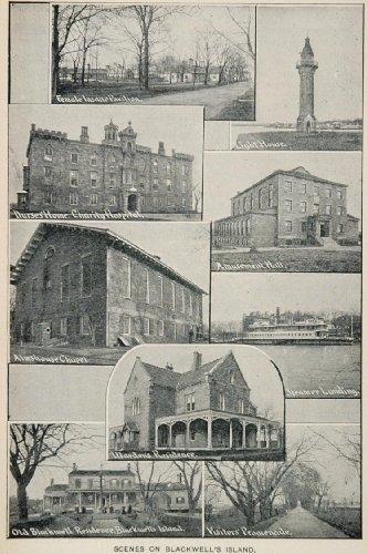 1893 Print Blackwells Island Hospital Asylum Lighthouse - Original Halftone Print
