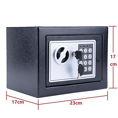 Meflying Home Electronic Safe Security Box, Digital Pin Code Deadbolt Lock for Protect Jewelry Gun Cash Valuabl Solid Steel Strongbox Wall-Anchoring Steel Safe Box(9.2'' x 6.8'' x 6.8'') (Black)