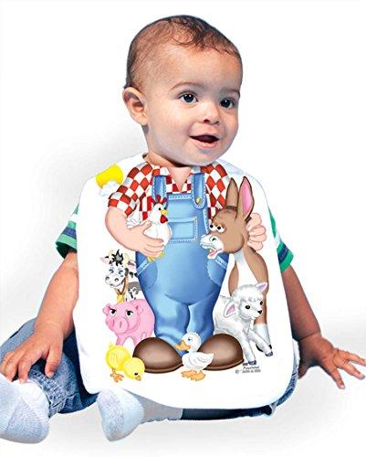 Just Add A Kid Baby Boy's Farm Animals 332 Baby Bib 0-6 Months White