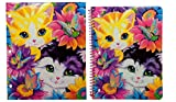Lisa Frank 3 Hole Pocket Folder and Spiral Bound Wide Ruled Notebook with Glitter Cover (Sunflower Kittens)