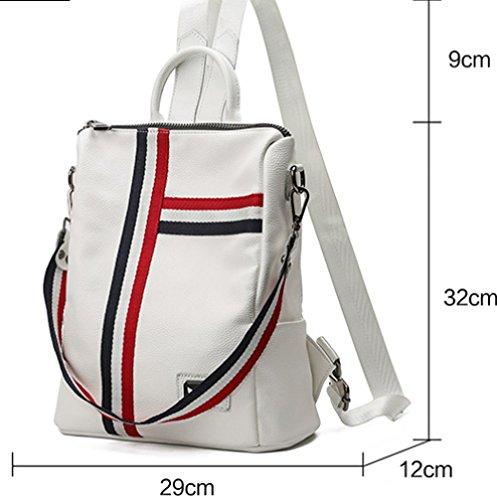 Cuir White à Dos Pour à Multi Sac Sac poches La à WenL Souple Bandoulière En Femme Mode tqpx7