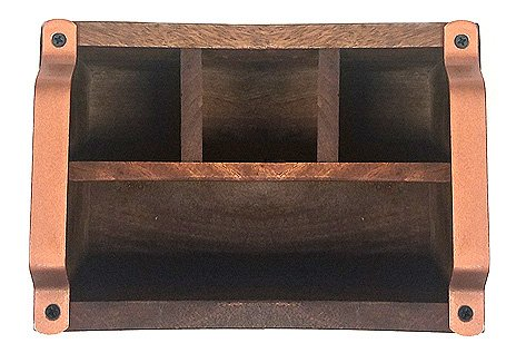 9.125X3X3.125 Brown Mountain Woods CCAM// 4 Compartment Caddy With Copper Handles