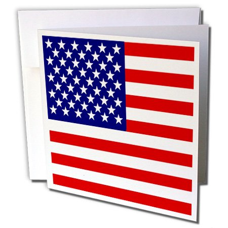 American Flag - USA stars and stripes - July 4th - Greeting Card, 6 x 6 inches, single (gc_112805_5)